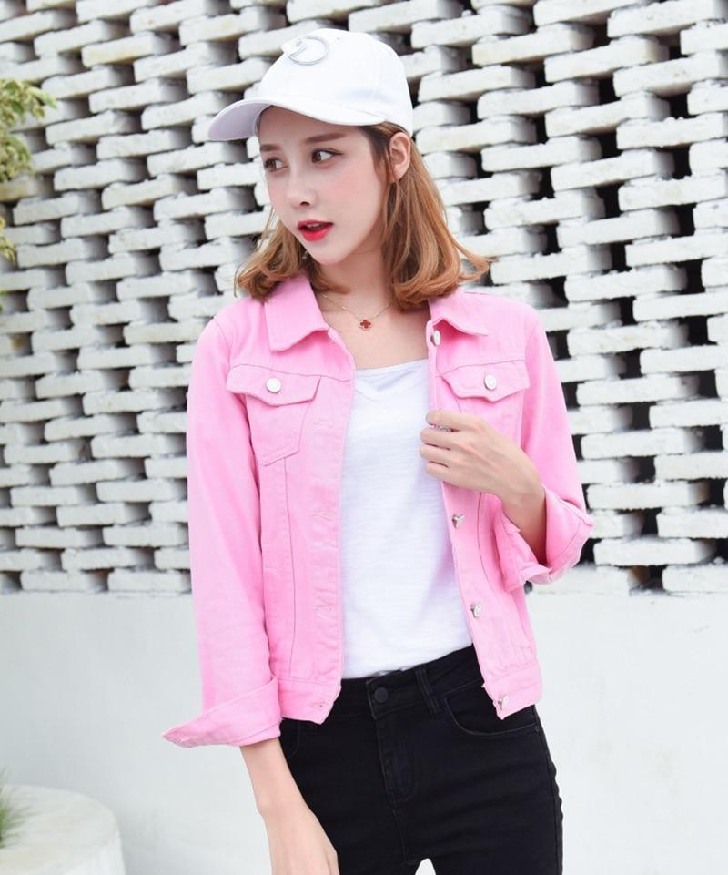 Jeans Jacket and Coats for Women 2019 Autumn Candy Color Casual Short Denim Jacket Chaqueta Mujer Casaco Jaqueta Feminina (15)