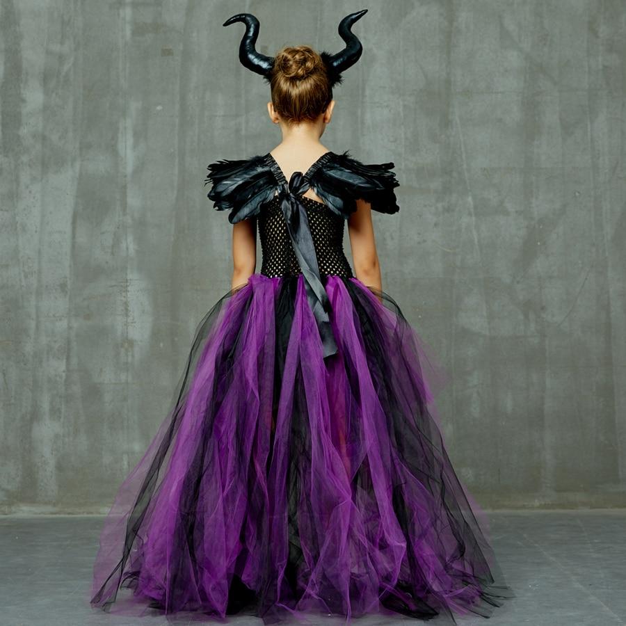 Purple Black Children Maleficent Costume Girls Dark Witch Villain Halloween Fancy Tutu Dress Evening Party Carnival Ball Gowns (14)