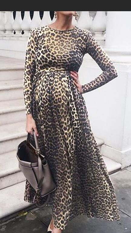 Fashion Maternity Dresses Photography Props Leopard Pregnancy Dress Long Sleeve Maternity Clothes For Pregnant Women Photo Shoot (4)