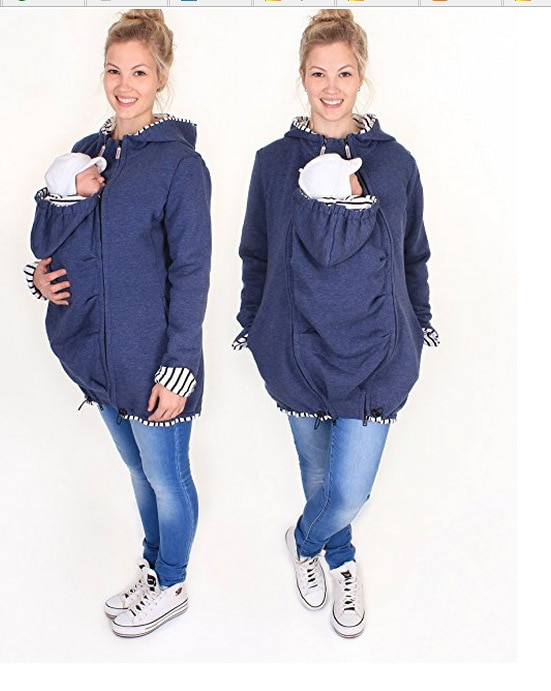 Pregnant Multifunction Warm Cotton Kangaroo Coat Daddy Chen Baby Holder Maternity Carrier Sweatshirts Jacket Carrier Outerwear (14)
