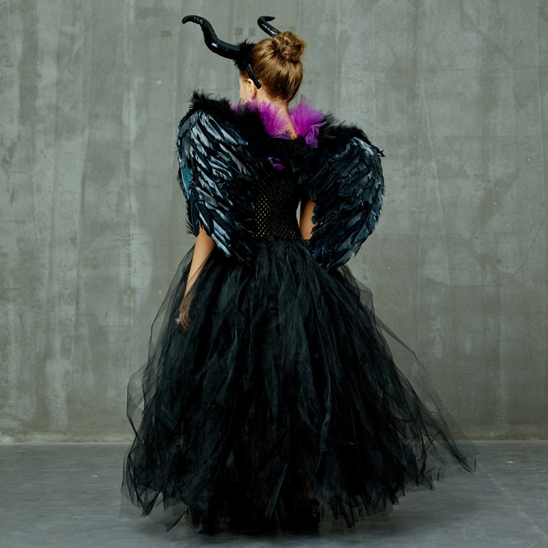 Maleficent Black Gown Tutu Dress with Deluxe Horns and Wings Girls Villain Fancy Dress Kids Halloween Cosplay Witch Costume (27)