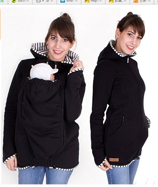 Pregnant Multifunction Warm Cotton Kangaroo Coat Daddy Chen Baby Holder Maternity Carrier Sweatshirts Jacket Carrier Outerwear (2)