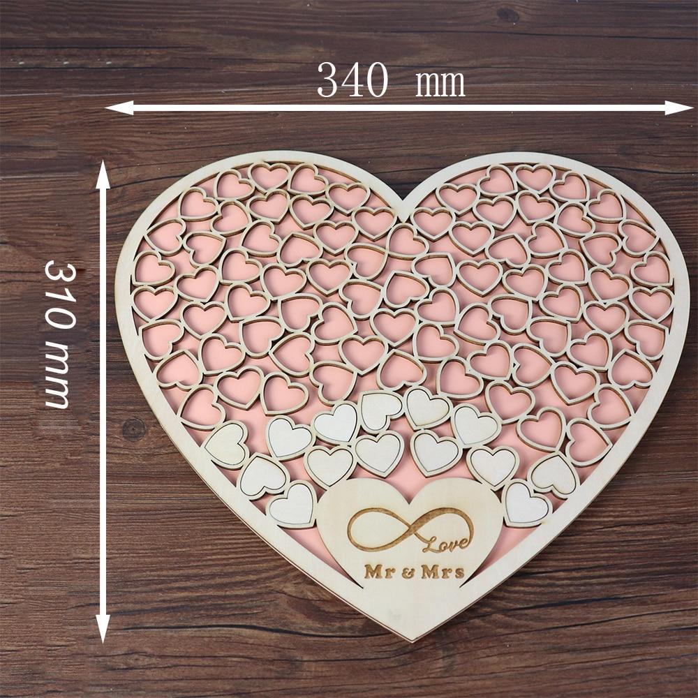 Heart shape Wedding Guest book Decoration Rustic Pink Sweet Heart Drop box Wedding drop box 3D Guestbook with wooden box (4)