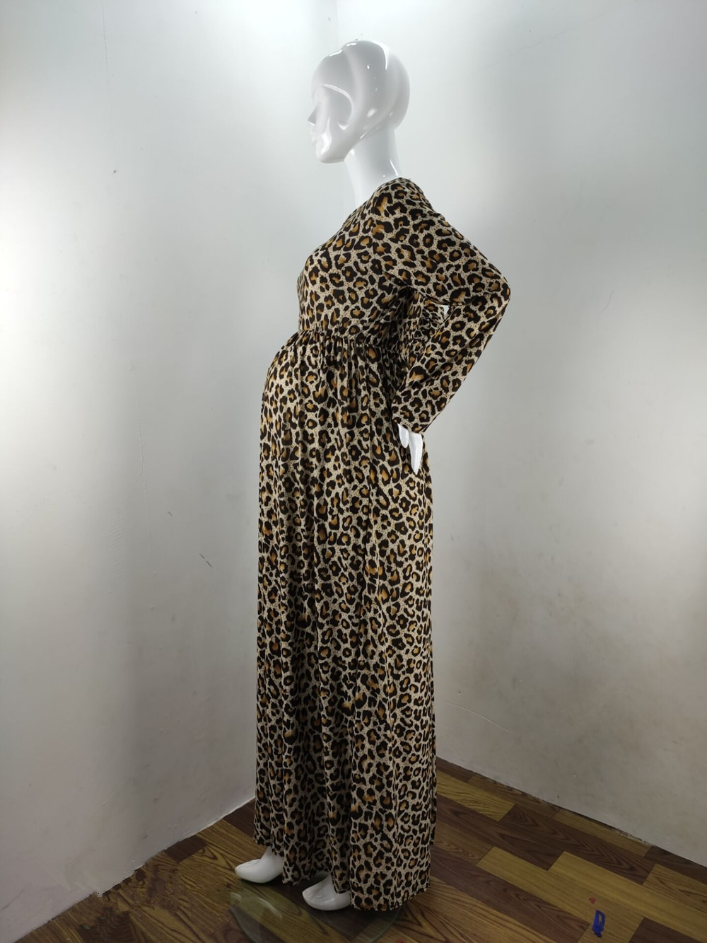 Fashion Maternity Dresses Photography Props Leopard Pregnancy Dress Long Sleeve Maternity Clothes For Pregnant Women Photo Shoot (6)