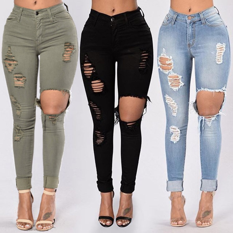 Women High-Waist Ultra-Stretch Hole Pencil Skinny Jeans JOMOBabe Official Online Store | Women Gym Clothes & Workout Wear | JOMOBabe