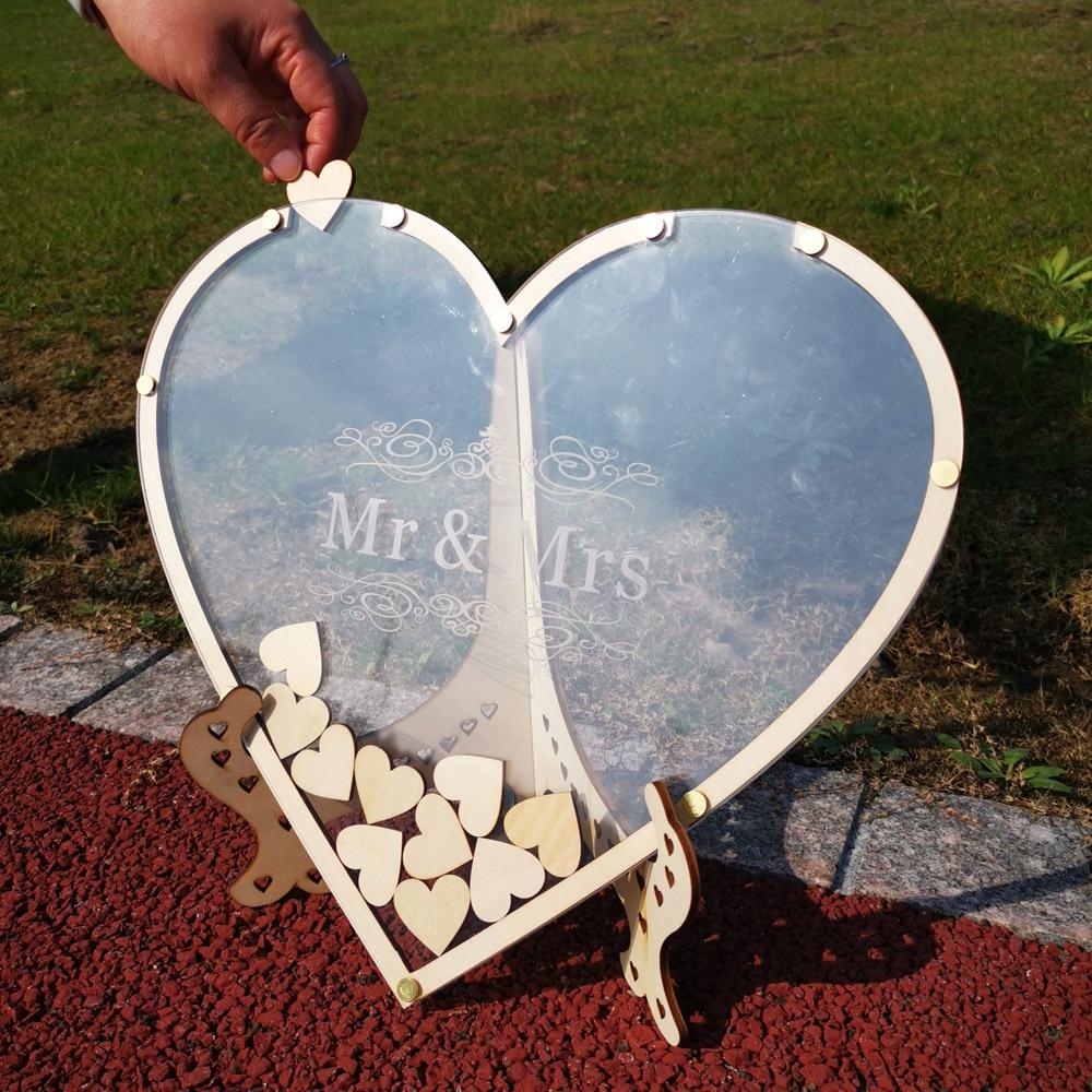 Hearts Unique Wedding Mr Mrs Guest Book Decoration Memory Guest Book Drop Box Signature Acrylic Guest Book Alternative (3)