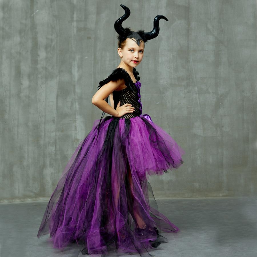 Purple Black Children Maleficent Costume Girls Dark Witch Villain Halloween Fancy Tutu Dress Evening Party Carnival Ball Gowns (12)