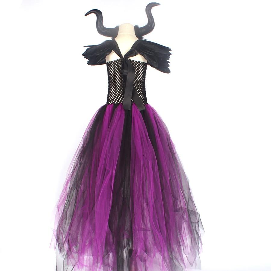 Purple Black Children Maleficent Costume Girls Dark Witch Villain Halloween Fancy Tutu Dress Evening Party Carnival Ball Gowns (6)