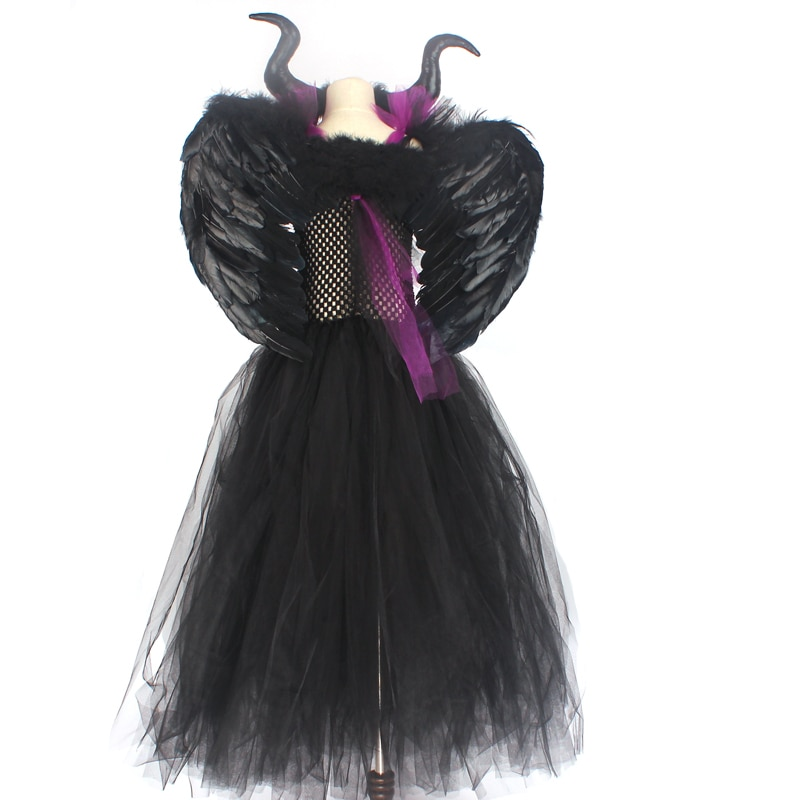 Maleficent Black Gown Tutu Dress with Deluxe Horns and Wings Girls Villain Fancy Dress Kids Halloween Cosplay Witch Costume (19)