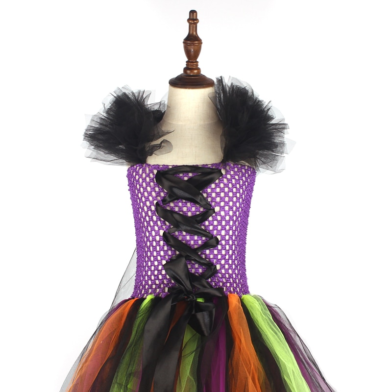 Girls Halloween Witch Tutu Dress Rainbow Trailing Tulle Kids Carnival Cosplay Party Dress Children Fancy Ball Gown Dress Costume (5)