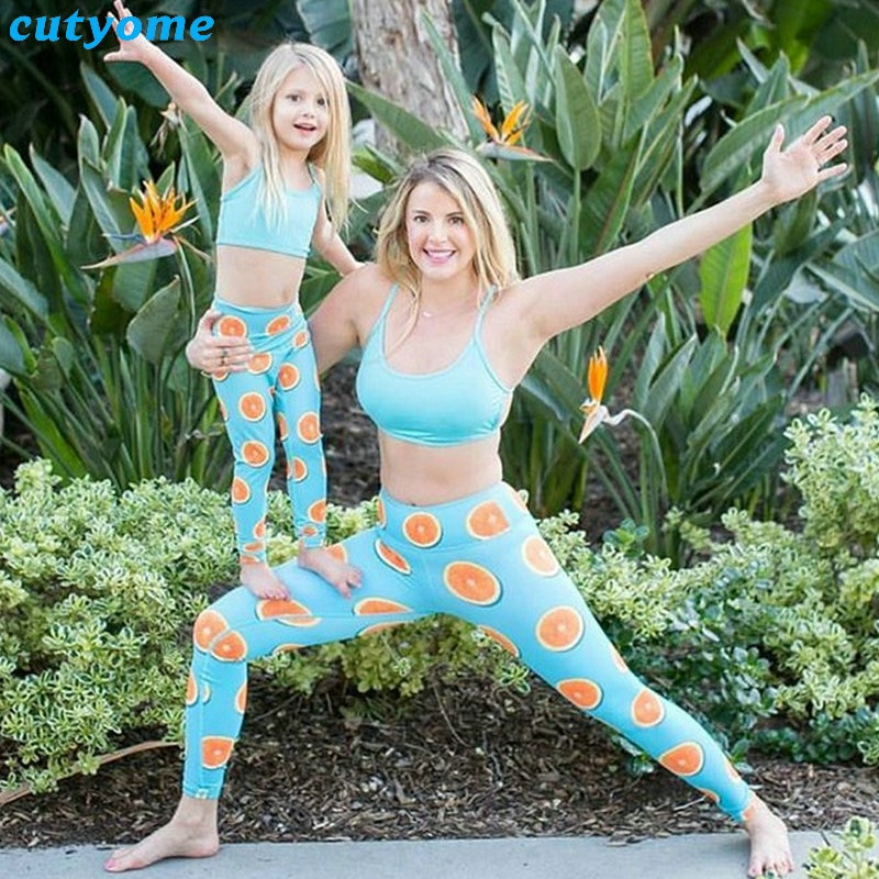 Mother Daughter Son Matching 2pcsset Clothes Tops+Lemon Pants Leggings Mommy And Me Sport Yoga Family Look Beachwear Outfits (17)