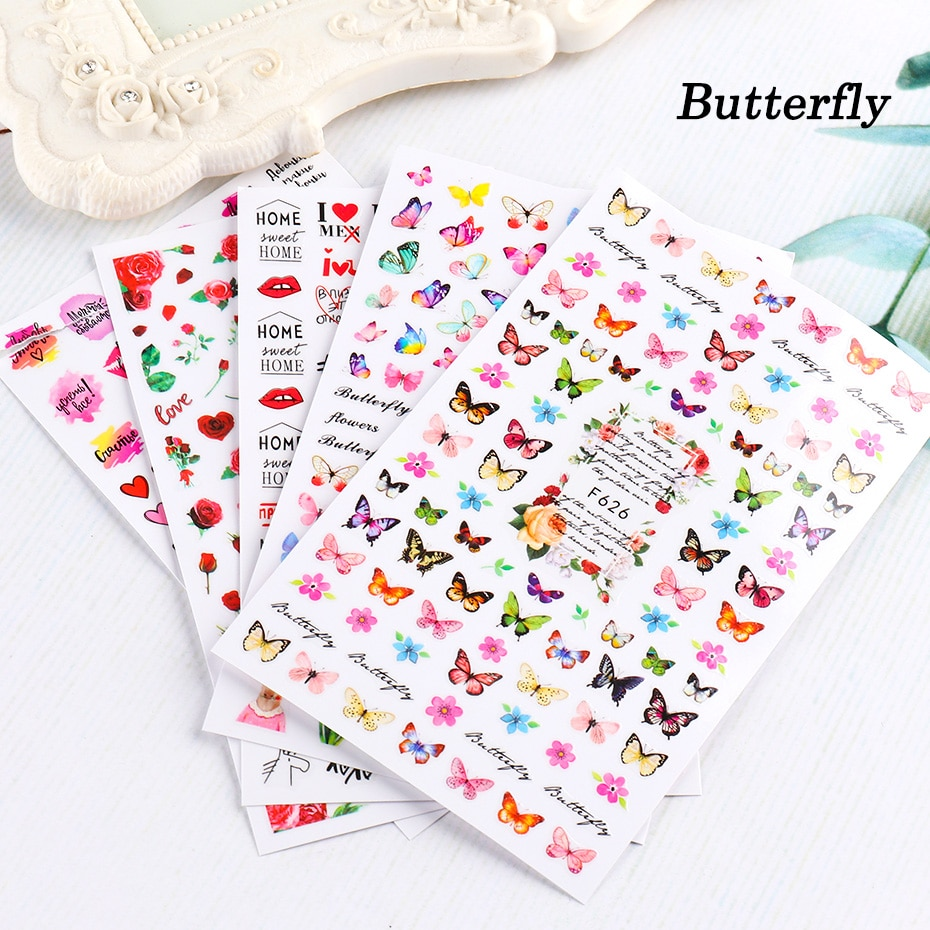 Nail Black Butterfly Nail Decals and Stickers Flower Blue Colorful Water Tattoo for Manicures Nail Art Slider Decorations (4)
