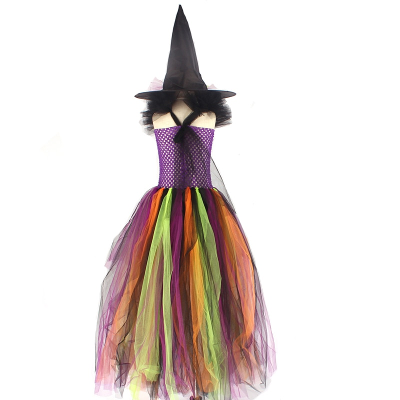 Girls Halloween Witch Tutu Dress Rainbow Trailing Tulle Kids Carnival Cosplay Party Dress Children Fancy Ball Gown Dress Costume (3)
