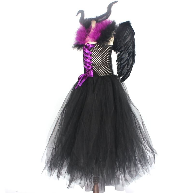 Maleficent Black Gown Tutu Dress with Deluxe Horns and Wings Girls Villain Fancy Dress Kids Halloween Cosplay Witch Costume (18)