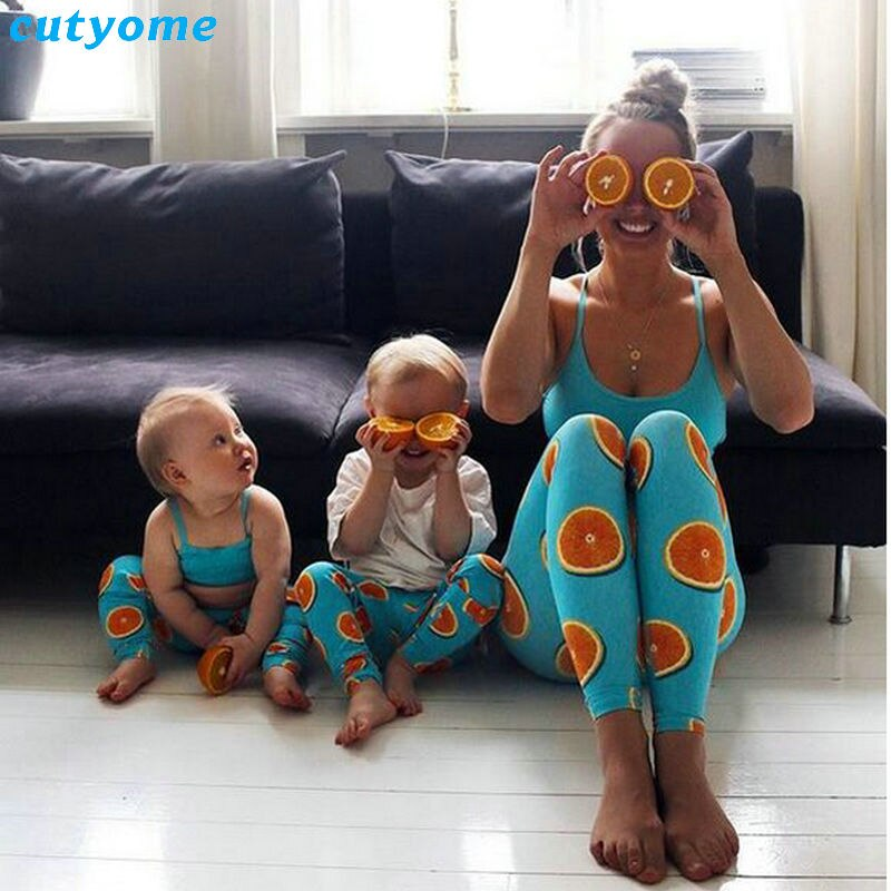 Mother Daughter Son Matching 2pcsset Clothes Tops+Lemon Pants Leggings Mommy And Me Sport Yoga Family Look Beachwear Outfits (7)