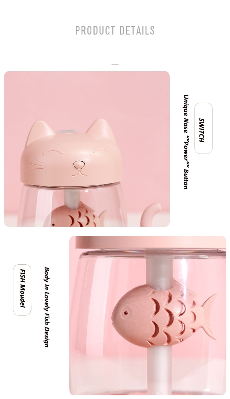 350ML Cartoon Cat USB Rechargeable Ultrasonic Air Humidifier