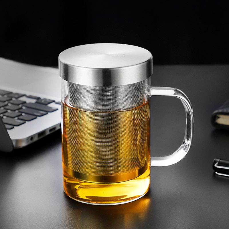Glass Cup Tea Infuser Mug Large Borosilicate Glass Tea Mug with Stainless Steel Infuser Home Office Coffee Mug Drinkware (12)