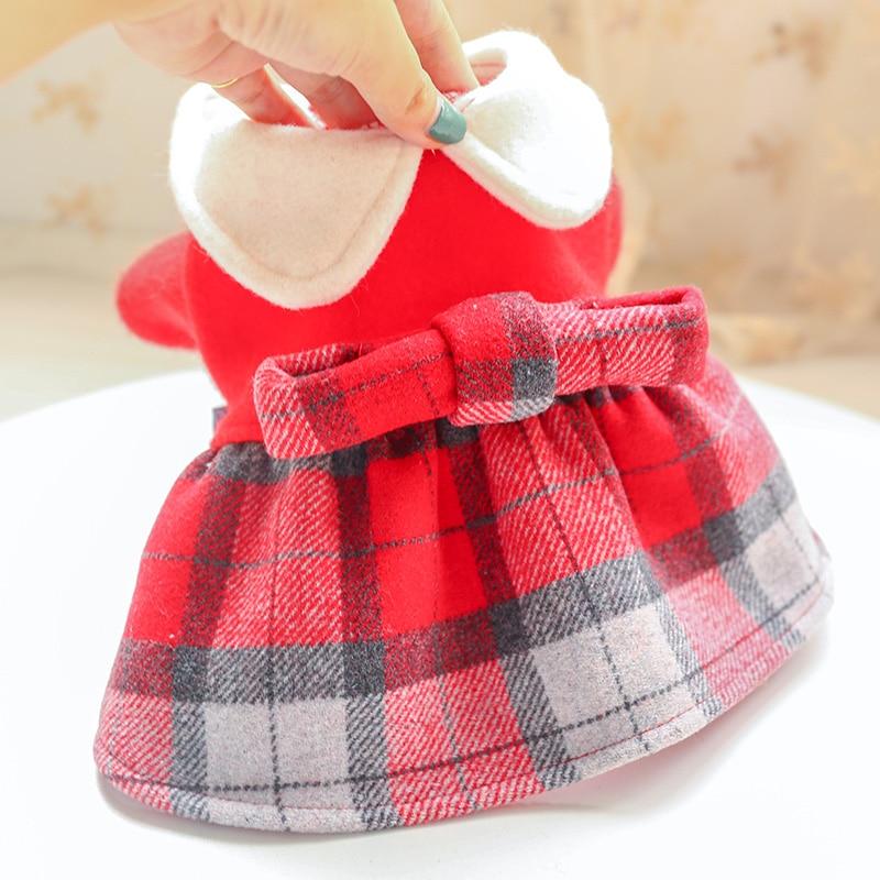 红格娃娃领呢子裙_5169