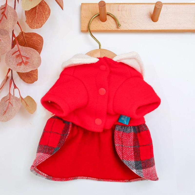 红格娃娃领呢子裙_5180