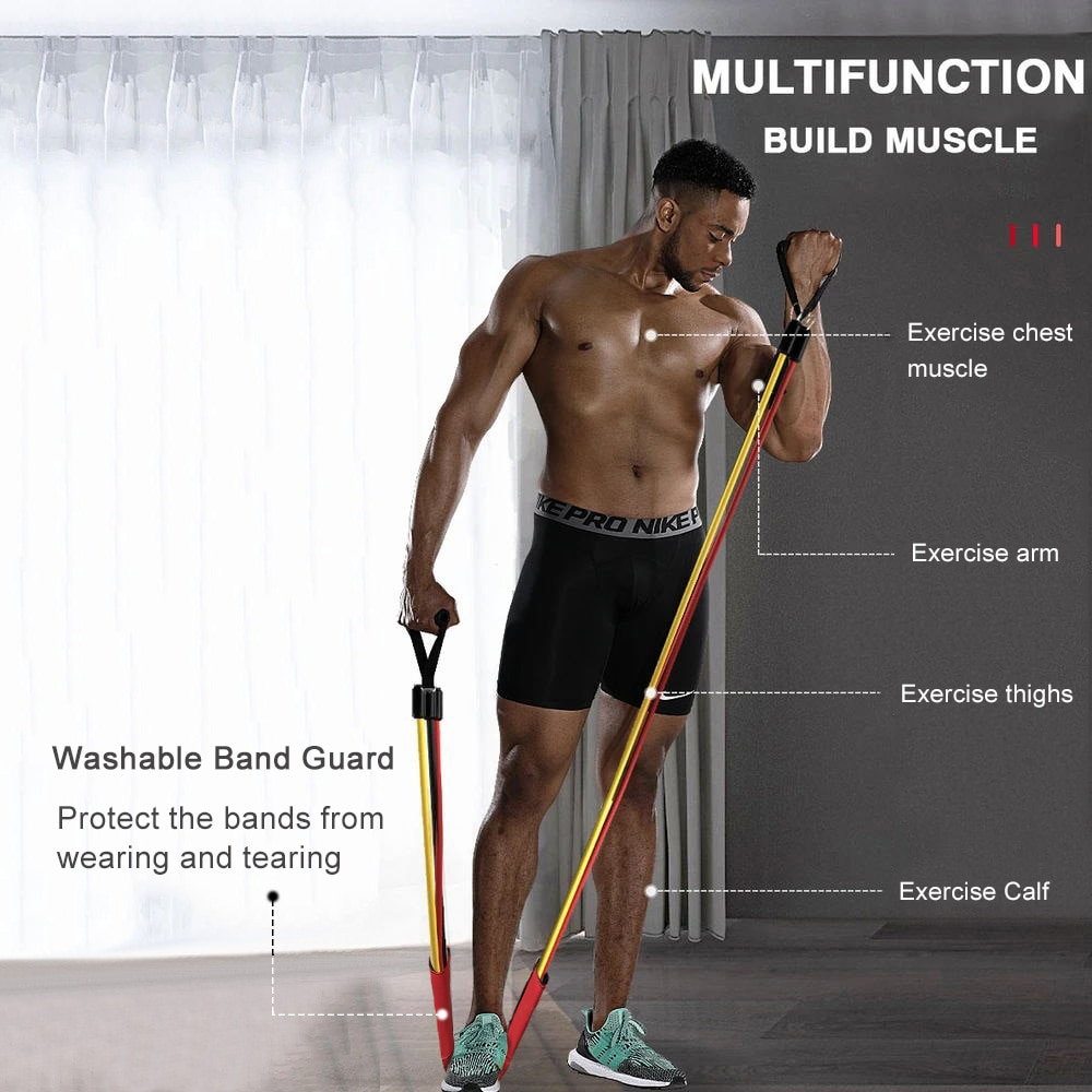 Resistance Bands Set of 150lbs Latex Elastic Fitness Bands