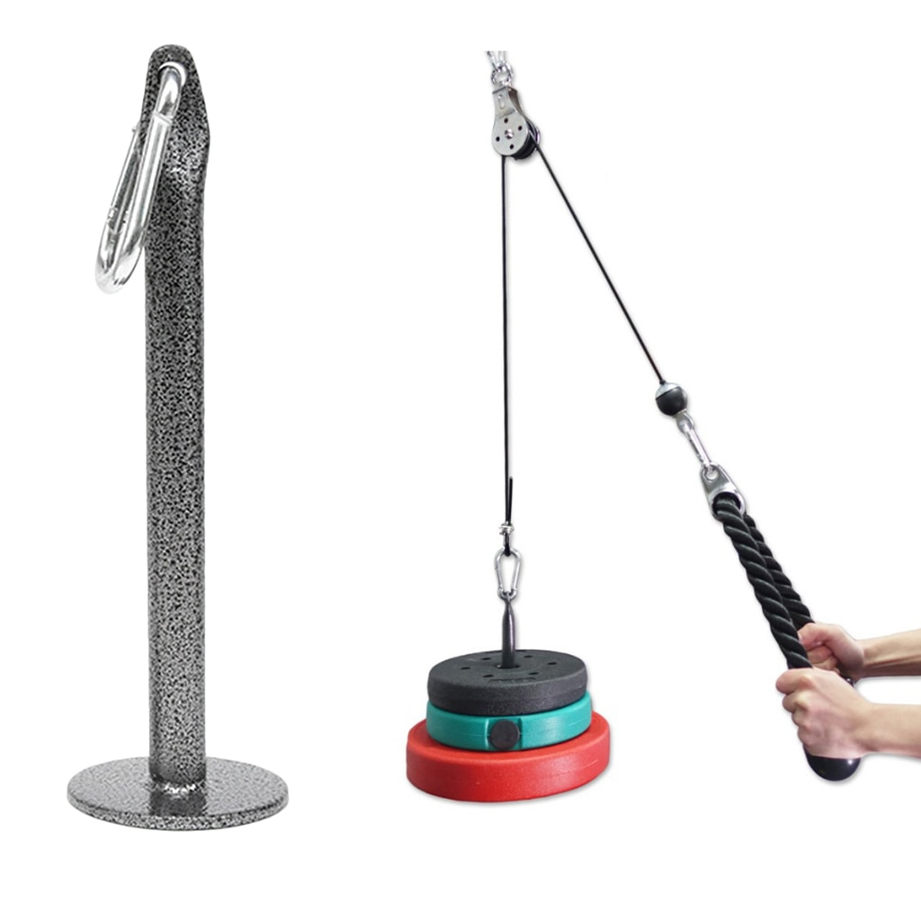Weight Plate Loading Pin Grip Strength Training Stand Home Rack with Carabiner