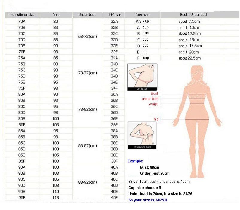 bra size chart latest