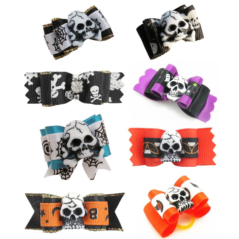 100PC-Lot-Halloween-Dog-Grooming-Bows-Skulls-Cat-Dog-Hair-Bows-Dog-Accessories-Holiday-Pet-Supplies