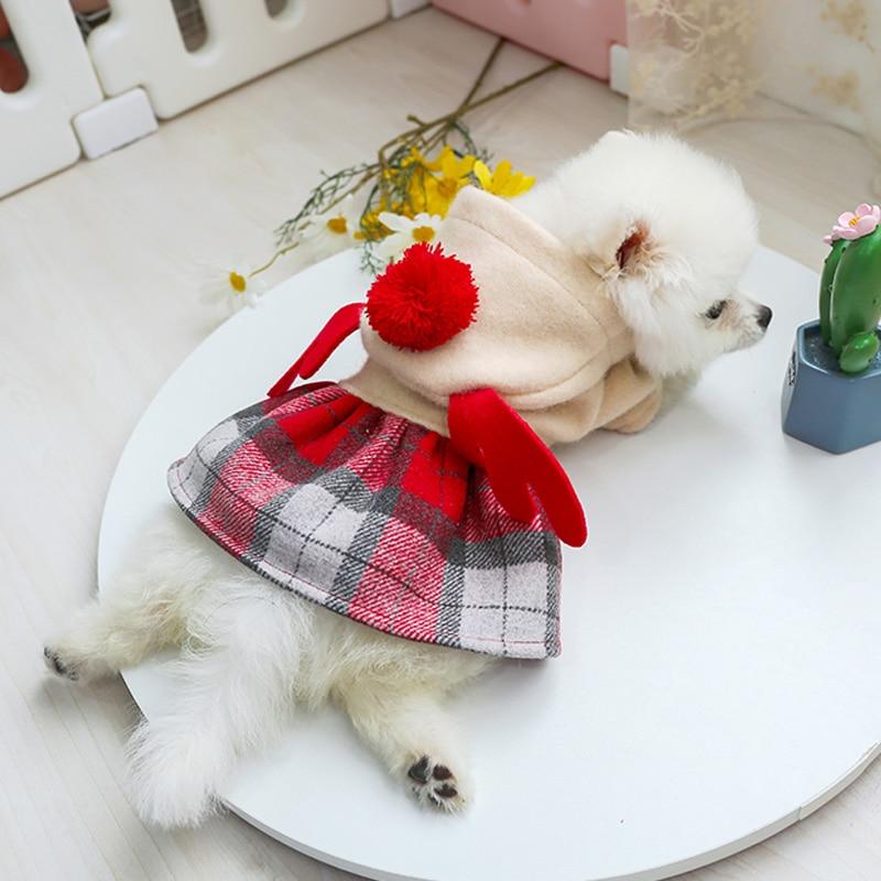 红格娃娃领呢子裙_8046