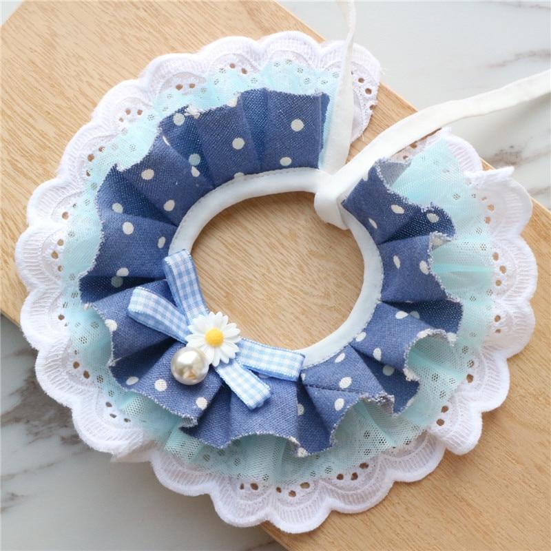 New Blue Polka Dot Pearl Handmade Lace Pet Cat Collar Lace