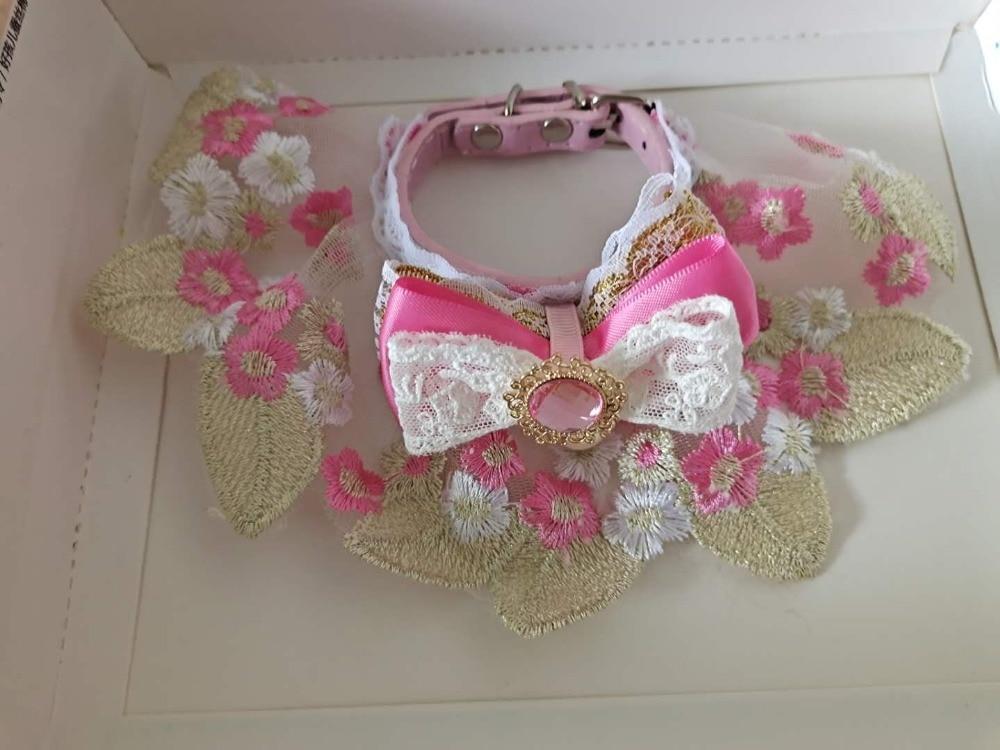 Handmade Pink Pet Cat Collar Bibs Lace Scarf
