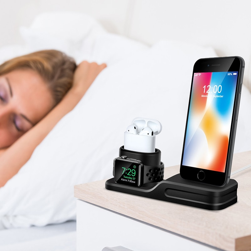3 in 1 Charging Dock Holder For Iphone X Iphone 8 Iphone 7 Iphone 6 Silicone charging stand Dock Station For Apple watch Airpods (1)