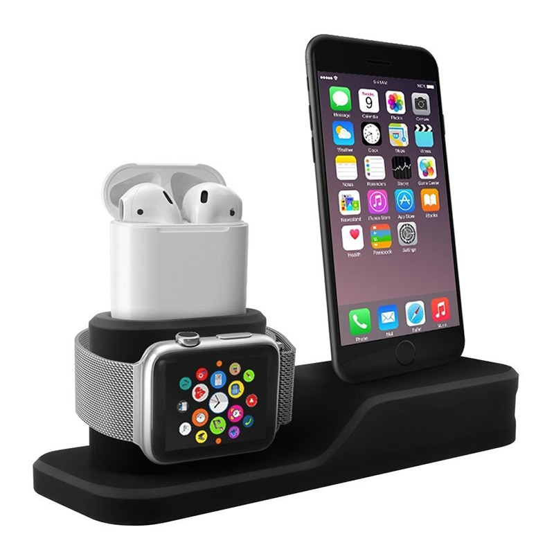 3 in 1 Charging Dock Holder For Iphone X Iphone 8 Iphone 7 Iphone 6 Silicone charging stand Dock Station For Apple watch Airpods (8)