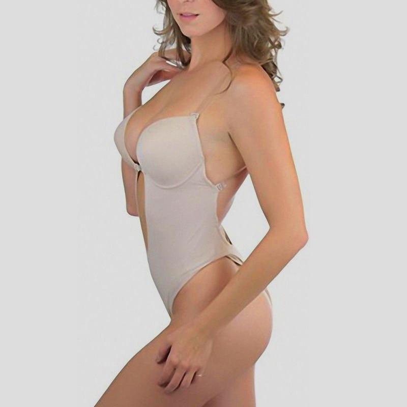 NINGMI Women Party Dress Underwear Shaper Slimming Backless Clear Strap Steel Rim Bra G-string Lingerie U Plunge Bridal Bodysuit (9)