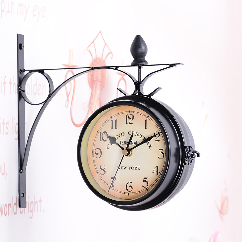 JX-LCl Antique Wall Mount Double Sided Station Clock Garden Vintage Retro Home Decor