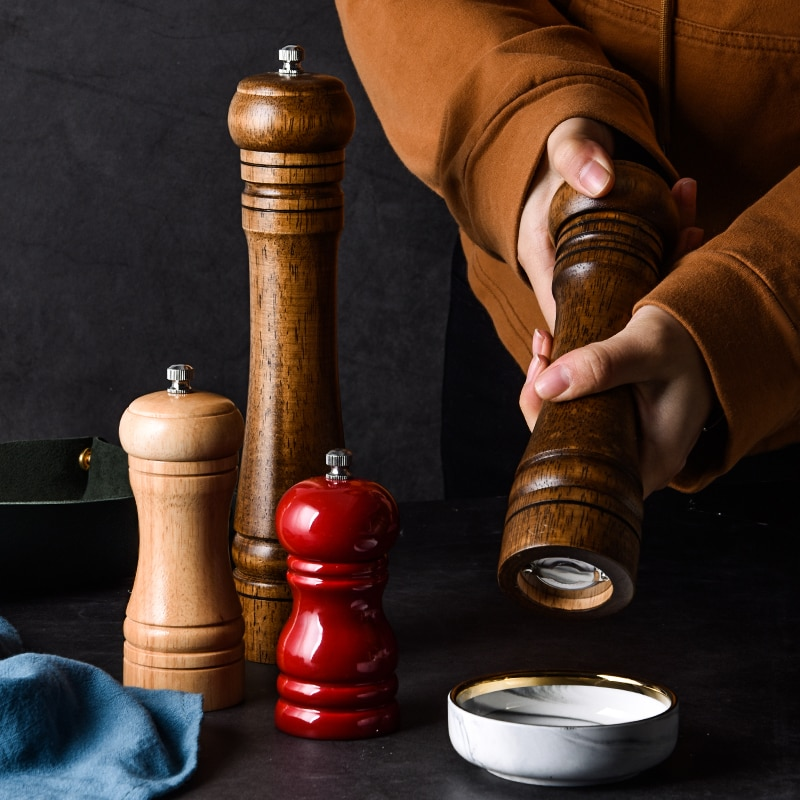 Classical Wood Pepper Spice Mill Grinder Set (6)