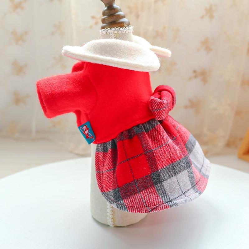 红格娃娃领呢子裙_5167