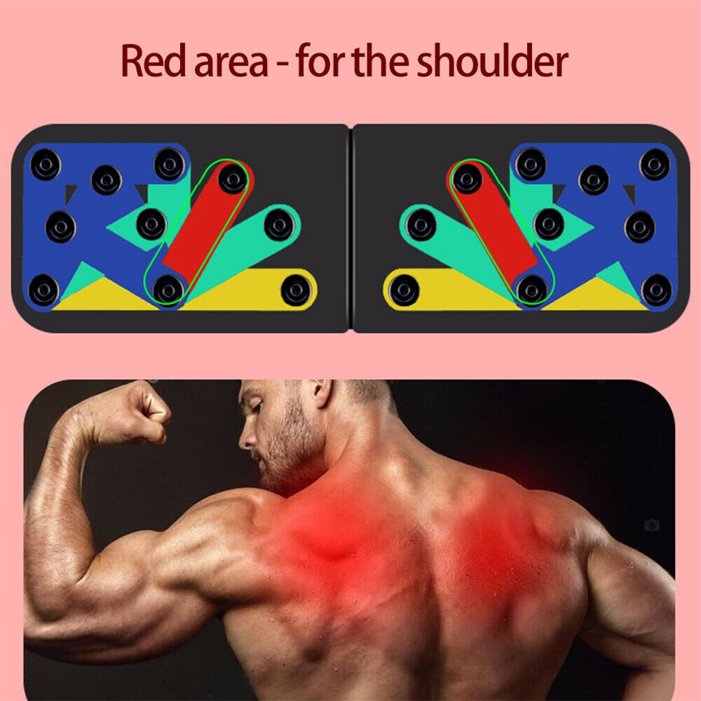 Folding Push Up Board Fitness Workout Train Muscle Exercise I-shaped Pushup Racks for Adults Indoor Home Muscle Training