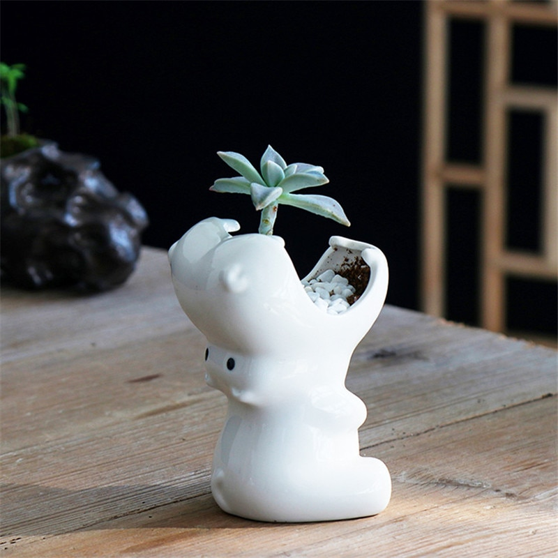 White Ceramic Hippo Flower Pot Multifunctional Succulent Container Holder Animal Flowerpot Nursery Succulent Bonsai Planters Pot1