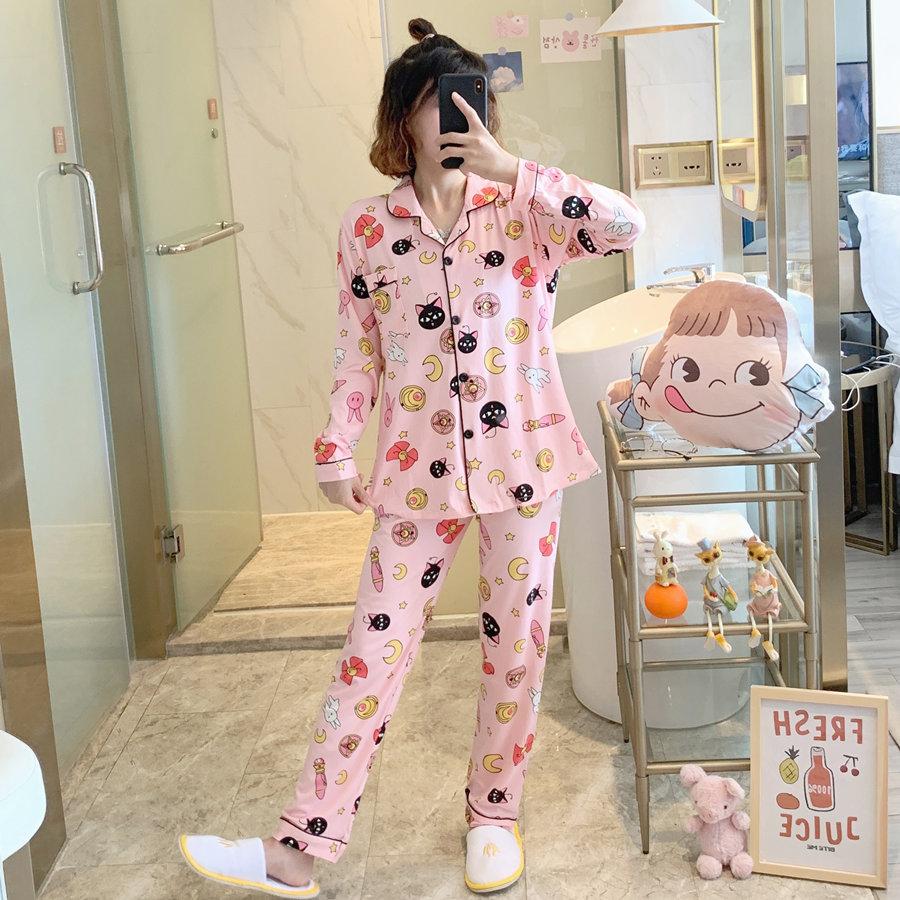 Anime Sailor Moon Luna Cat Print Pajama Set For Women Long Sleeve Cotton