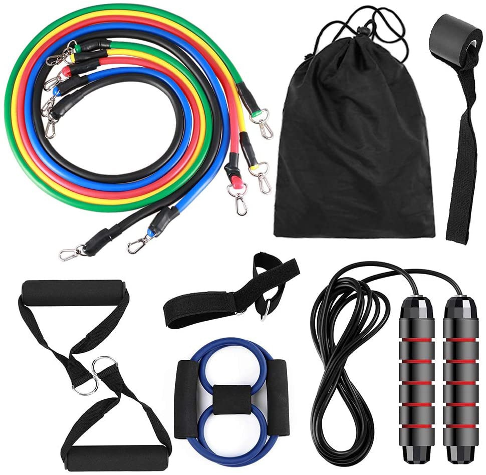 Pull Rope Resistance Bands Set With Jump Rope