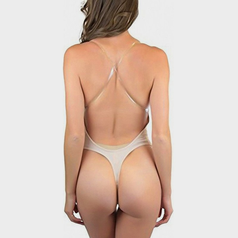 NINGMI Women Party Dress Underwear Shaper Slimming Backless Clear Strap Steel Rim Bra G-string Lingerie U Plunge Bridal Bodysuit (10)