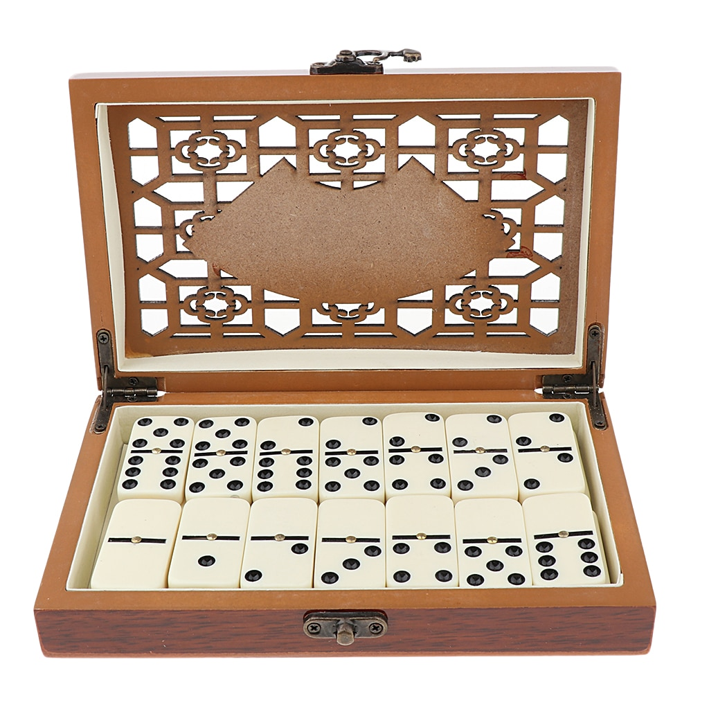 28 Dominoes Set Entertainment Recreational Party Game Toy with Wooden Box