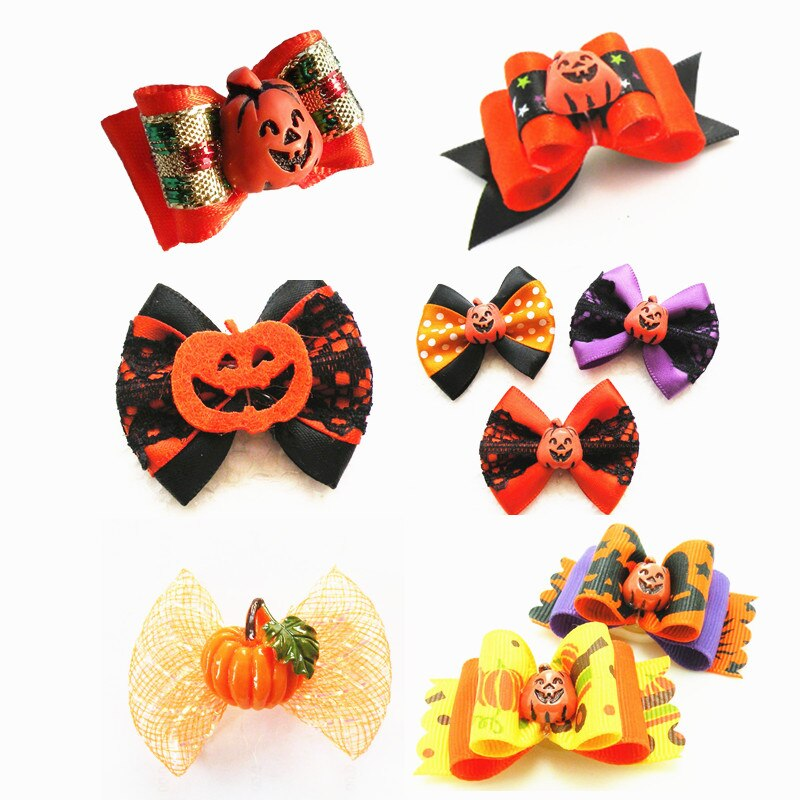 100PC-Lot-Pumpkin-Style-Pet-Grooming-Accessories-Halloween-Dog-Hair-Bows-With-Rubber-Bands-For-Puppy