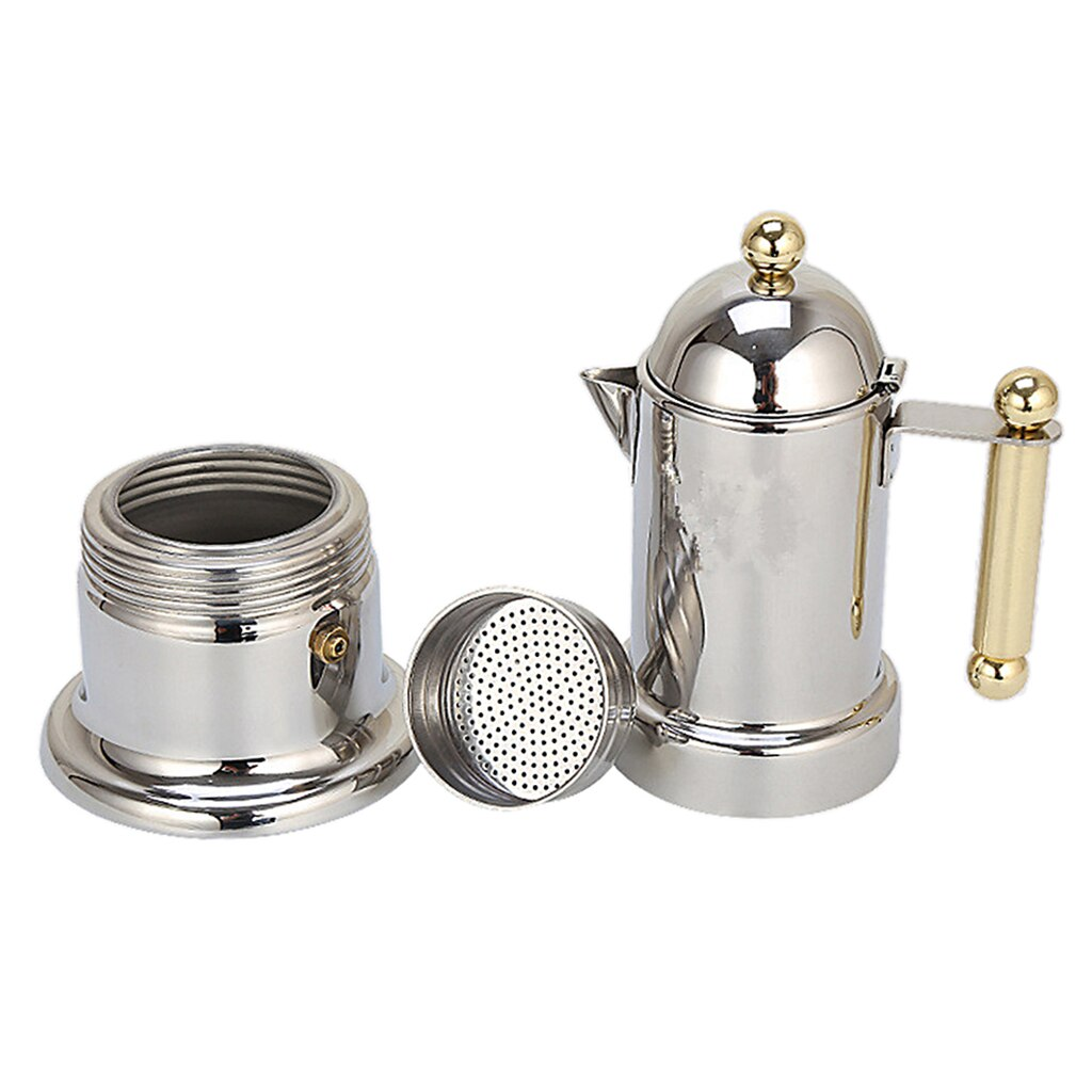 Stainless Steel Moka Coffee Maker Stovetop Espresso Maker Italian Design for Best Espresso Coffee, Easy to Use and Clean