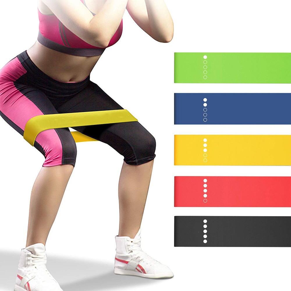 Yoga Resistance Bands 5 Colors Resistance Loop Stretching Pilates Fitness Equipment Gym Home Sport Training Workout (5lb- 25lb) (10)