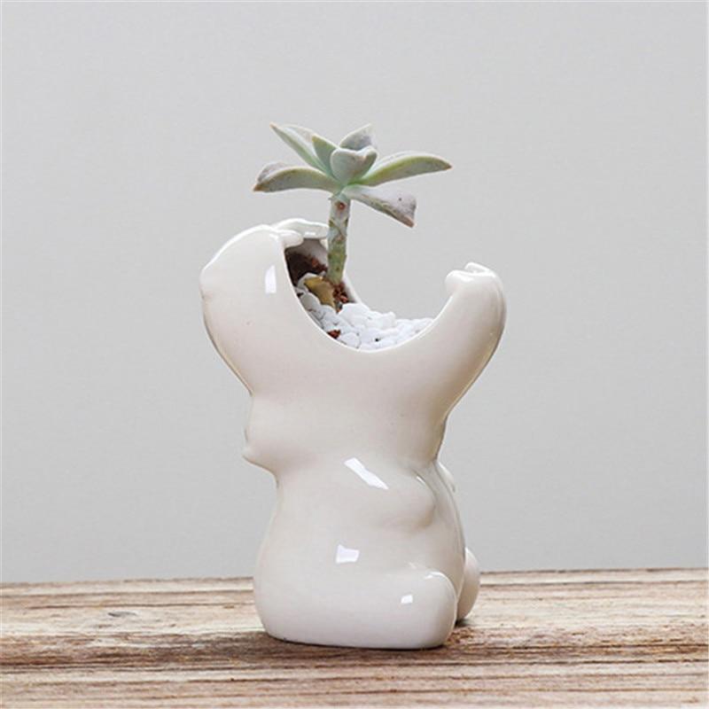 White Ceramic Hippo Flower Pot Multifunctional Succulent Container Holder Animal Flowerpot Nursery Succulent Bonsai Planters Pot4