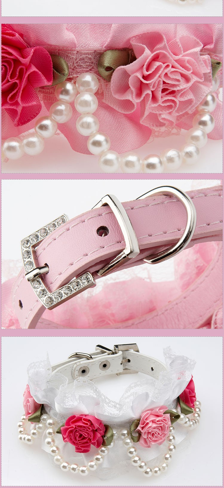 Fancy Pet Cat Collar Leather with Crystal Rhinestone Buckle Design Rose Lace Pearl