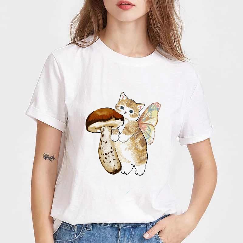 Japanese Sushi Cat Print Harajuku women T-shirt Female Tee Shirt