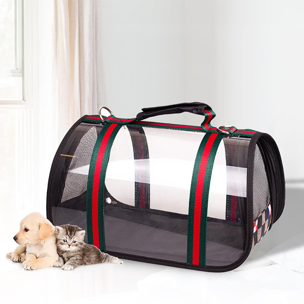 Foldable Pet Handbag Transparent Design Breathable Shoulder Tote Bag