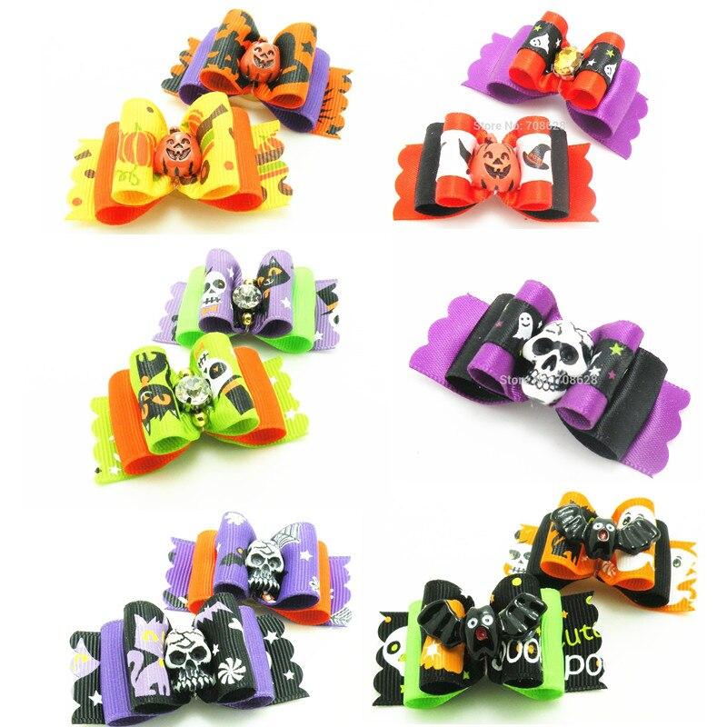 100PC-Lot-Pet-Grooming-Accessories-Halloween-Dog-Bows-Pumpkin-Skulls-Pet-Dog-Hair-Bows-Rubber-Bands